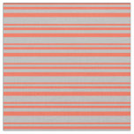 [ Thumbnail: Red & Grey Colored Stripes Pattern Fabric ]