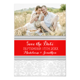 Red Grey Damask Save The Date Magnetic Card