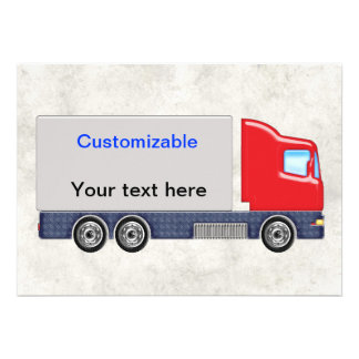 Red & Grey Delivery Truck Customize Invites