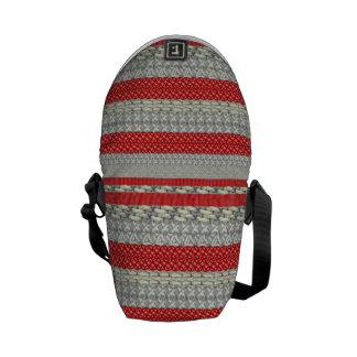 Red Grey Fair Isle Patterned Trendy Modern Bags Messenger Bag