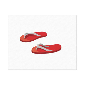 red grey flip flops offset .png stretched canvas print