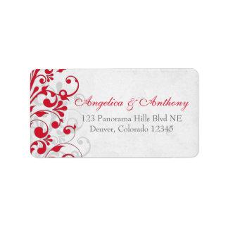Red Grey Floral Wedding Return Address Labels