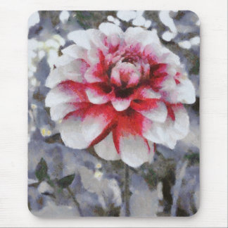 Red grey flower painting mousepad