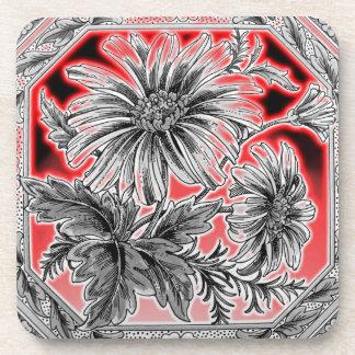 Red, Grey (Gray) & Black Flower Graphic Art Beverage Coaster