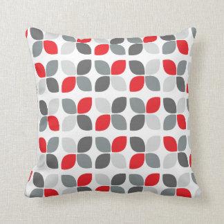 Red Grey Modern Flower Pattern Throw Pillows
