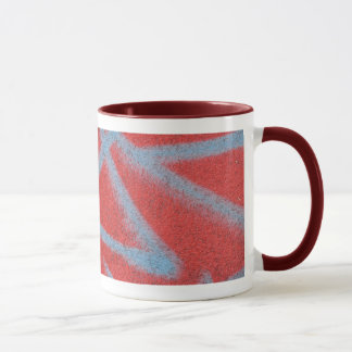red grey paint mug
