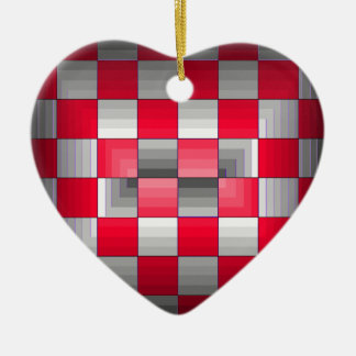 Red Grey Rally Flag Holiday Products Racing Fun Ceramic Ornament