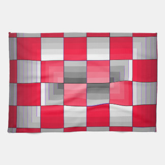 Red Grey Rally Flag Holiday Products Racing Fun Kitchen Towel