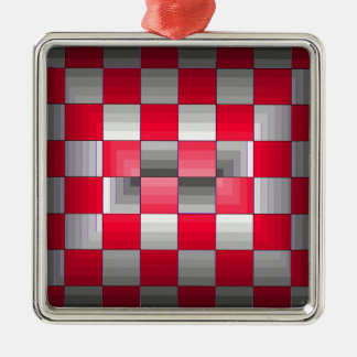 Red Grey Rally Flag Holiday Products Racing Fun Metal Ornament