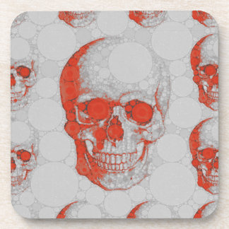 Red Grey Skulls Beverage Coaster