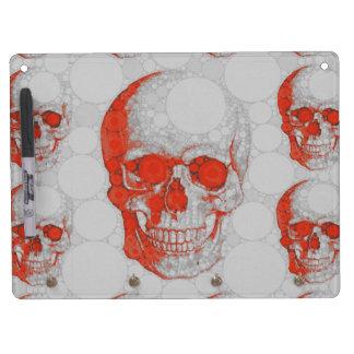 Red Grey Skulls Dry Erase Board With Keychain Holder