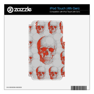Red Grey Skulls iPod Touch 4G Decals