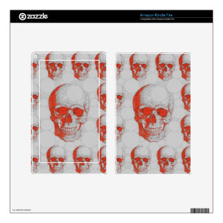 Red Grey Skulls Kindle Fire Decals