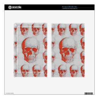 Red Grey Skulls Kindle Fire Decals