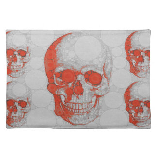 Red Grey Skulls Placemat
