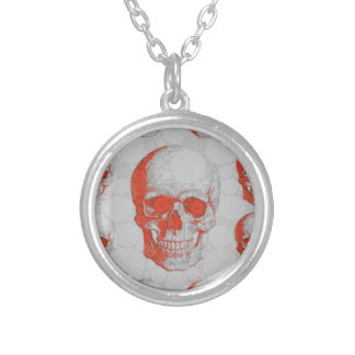 Red Grey Skulls Silver Plated Necklace