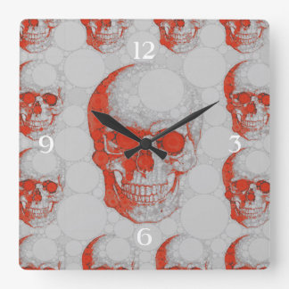 Red Grey Skulls Square Wall Clock