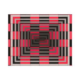 Red Grey Square Optical Geometric Art Canvas