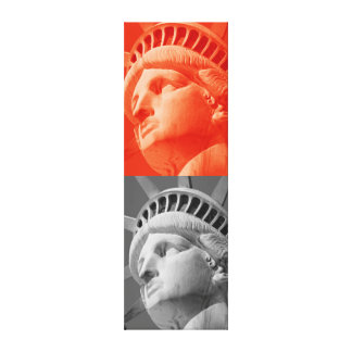 Red Grey Statue of Liberty Wrapped Canvas Canvas Print
