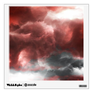 Red grey white black abstract clouds digital art wall sticker