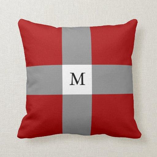 Red Grey Pattern & Custom Monogram Throw Pillows Zazzle