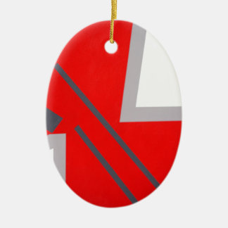 Red&Grey ZigZag Ceramic Ornament