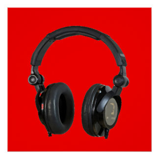 Red Greyscale Headphone Pop Art Poster Print