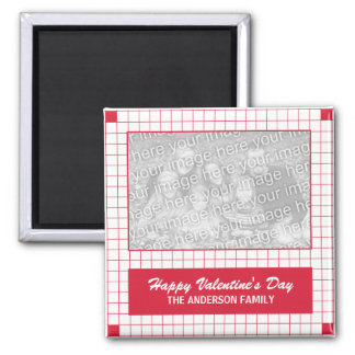 Red Grid Photo Magnet