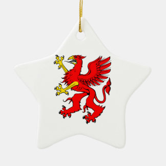 Red Griffin/Griffon/Gryphon Ceramic Ornament