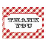 Red Gringham Pattern Thank you postcards