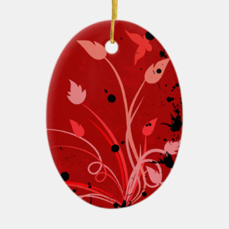 Red Grunge Butterfly Oval Ceramic Ornament