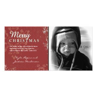 Red Grunge Christmas Photo Card