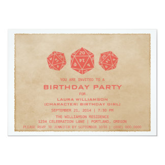 Red Grunge D20 Dice Gamer Birthday Party Invite