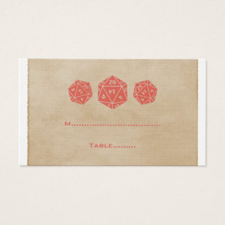 Red Grunge D20 Dice Gamer Place Card