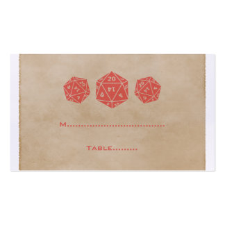 Red Grunge D20 Dice Gamer Place Card Business Card Template