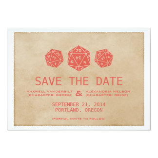 Red Grunge D20 Dice Gamer Save the Date Invite