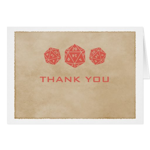 Red Grunge D20 Dice Gamer Thank You Card
