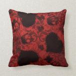 Red Grunge Damask Valentine Pillow