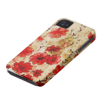 Red Grunge Floral iPhone 4 iPhone 4 Case