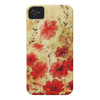 Red Grunge Floral iPhone 4 iPhone 4 Cases