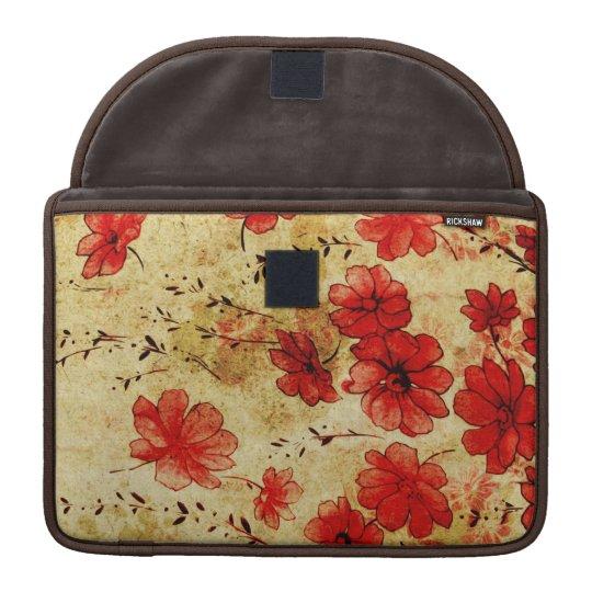 """Red Grunge Floral MacBook 13"""" MacBook Pro Sleeve"""