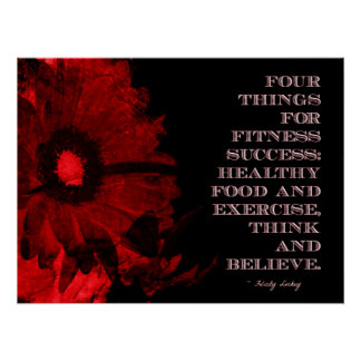 Red Grunge Flower for Fitness Success Posters