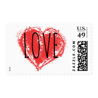 Red Grunge Graffiti Spray Painted Cool Love Heart Postage