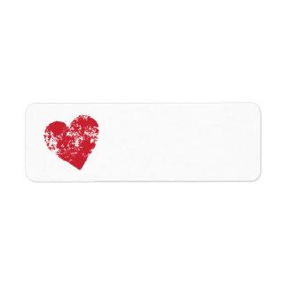 Red grunge heart label