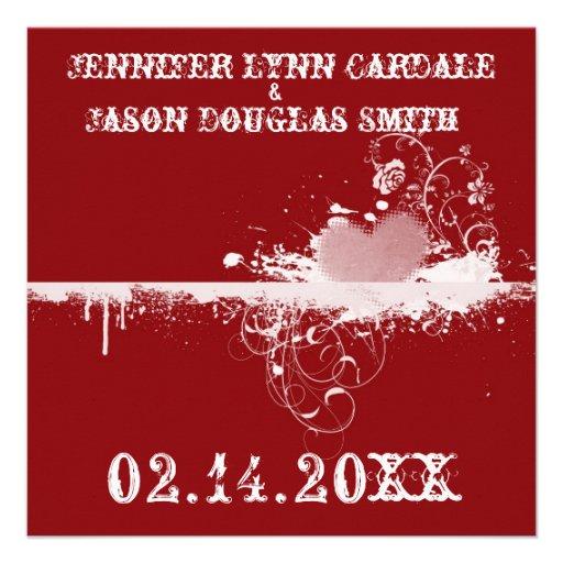 Red Grunge Heart Valentine's Wedding Invitations