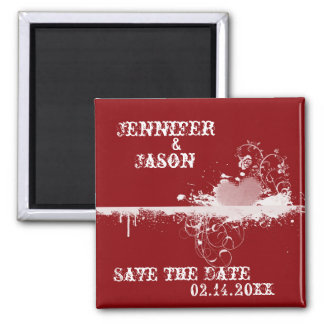 Red Grunge Heart  Wedding Save the Date Magnet