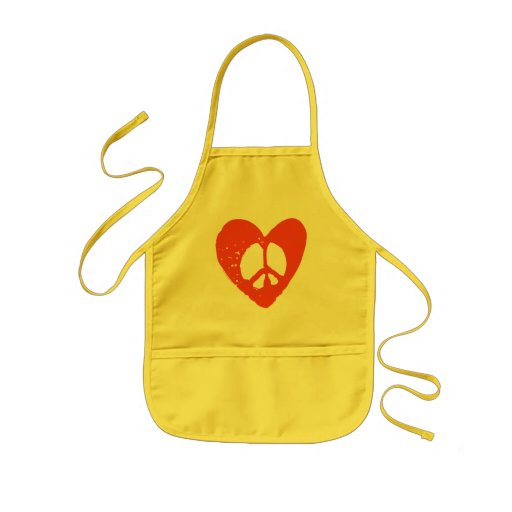Red Grunge Heart with Peace Sign Apron