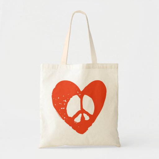 Red Grunge Heart with Peace Sign Bag