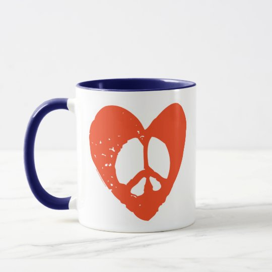 Red Grunge Heart with Peace Sign Mug