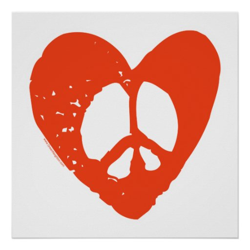 Red Grunge Heart with Peace Sign Poster